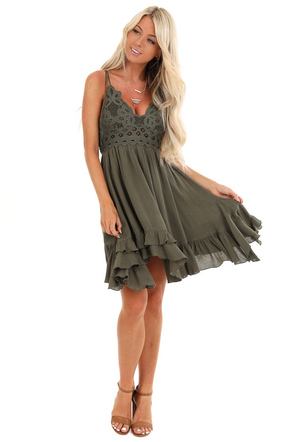 Dark Olive Strappy Sleeveless Mini Dress with Sheer Waist front full body