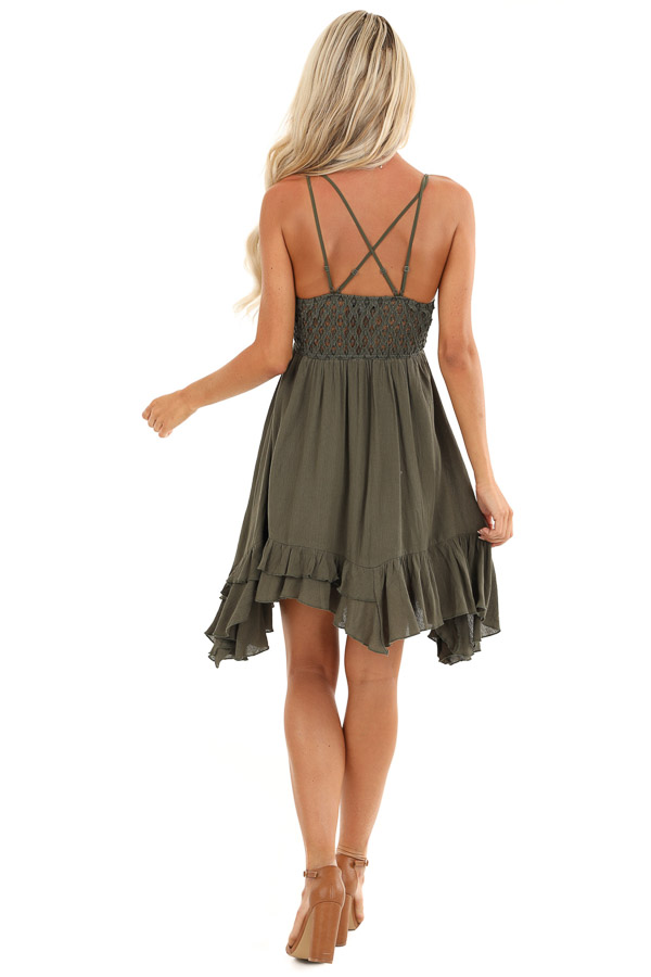Dark Olive Strappy Sleeveless Mini Dress with Sheer Waist back full body
