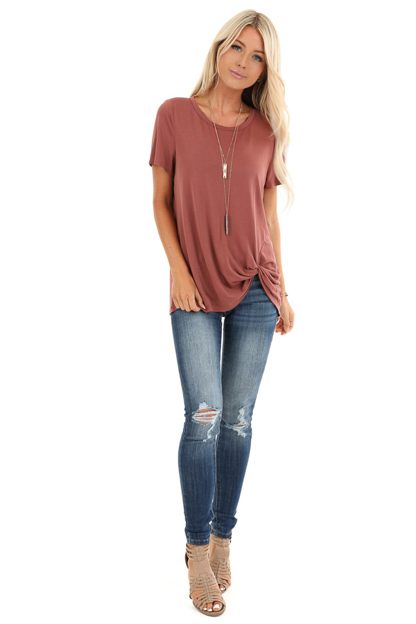 Faded Brick Loose Short Sleeve Top with Front Twist front full body