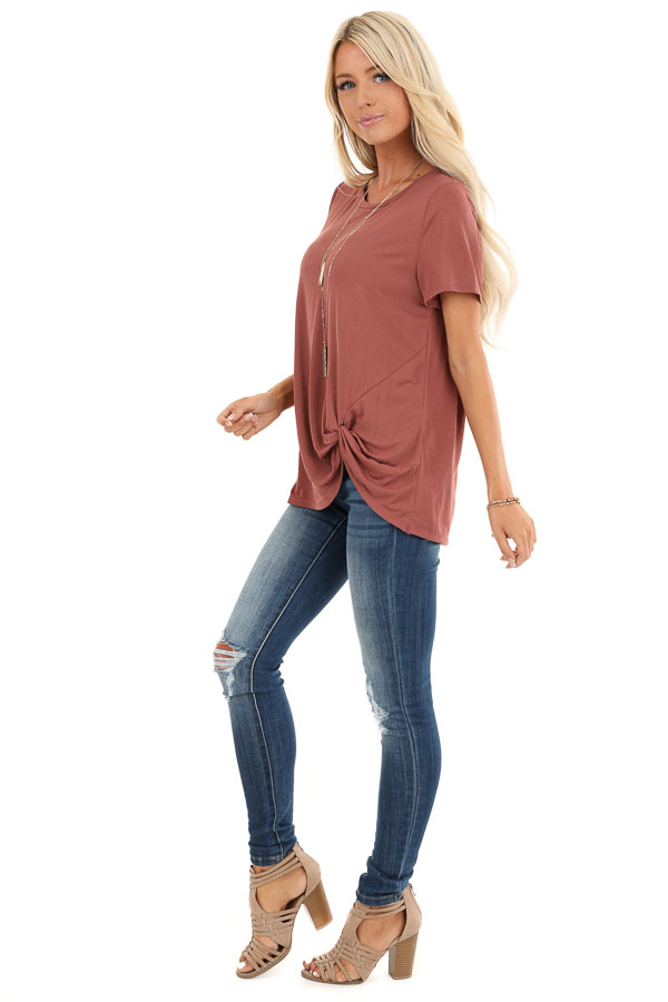 Faded Brick Loose Short Sleeve Top with Front Twist side full body