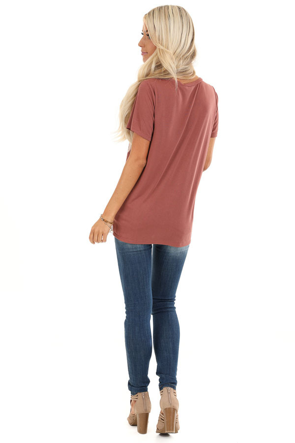 Faded Brick Loose Short Sleeve Top with Front Twist back full body