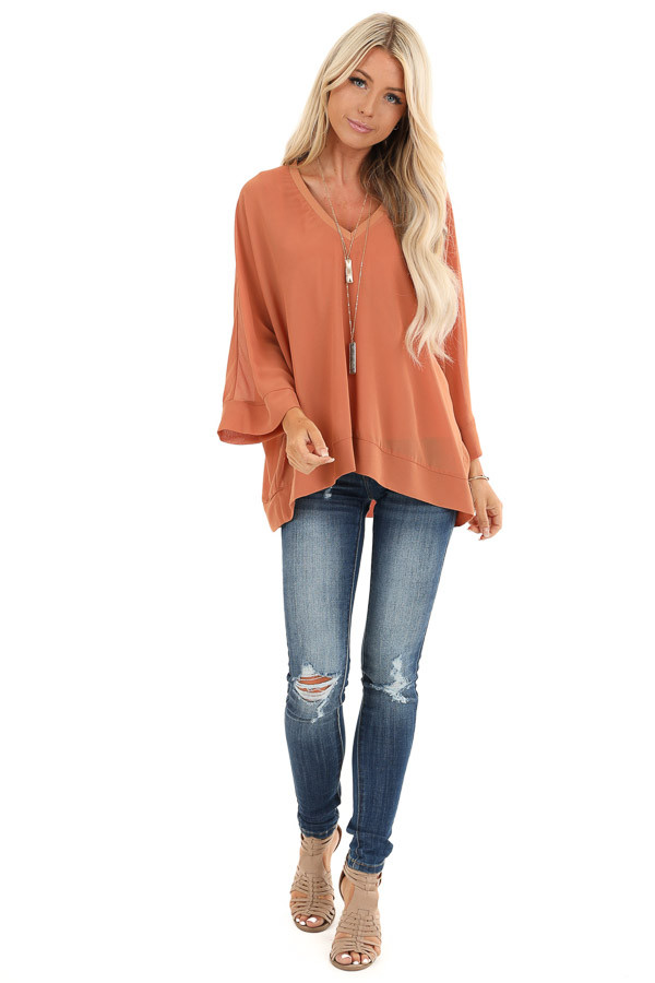Pumpkin Spice Long Dolman Sleeve Top with V Neckline front full body