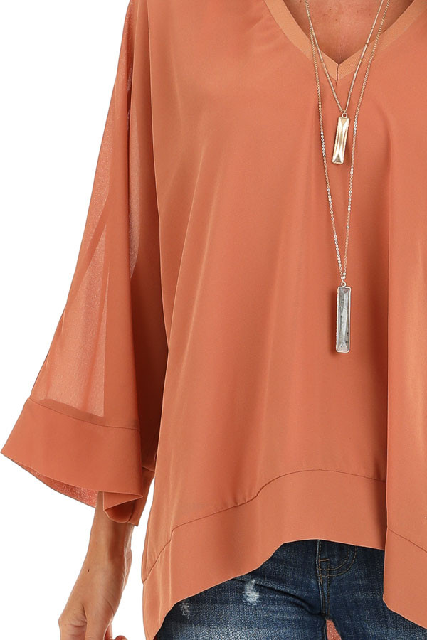 Pumpkin Spice Long Dolman Sleeve Top with V Neckline detail