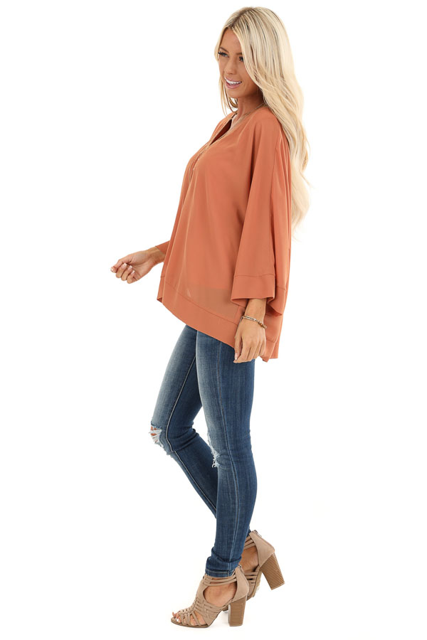 Pumpkin Spice Long Dolman Sleeve Top with V Neckline side full body