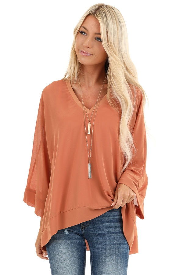 Pumpkin Spice Long Dolman Sleeve Top with V Neckline front close up