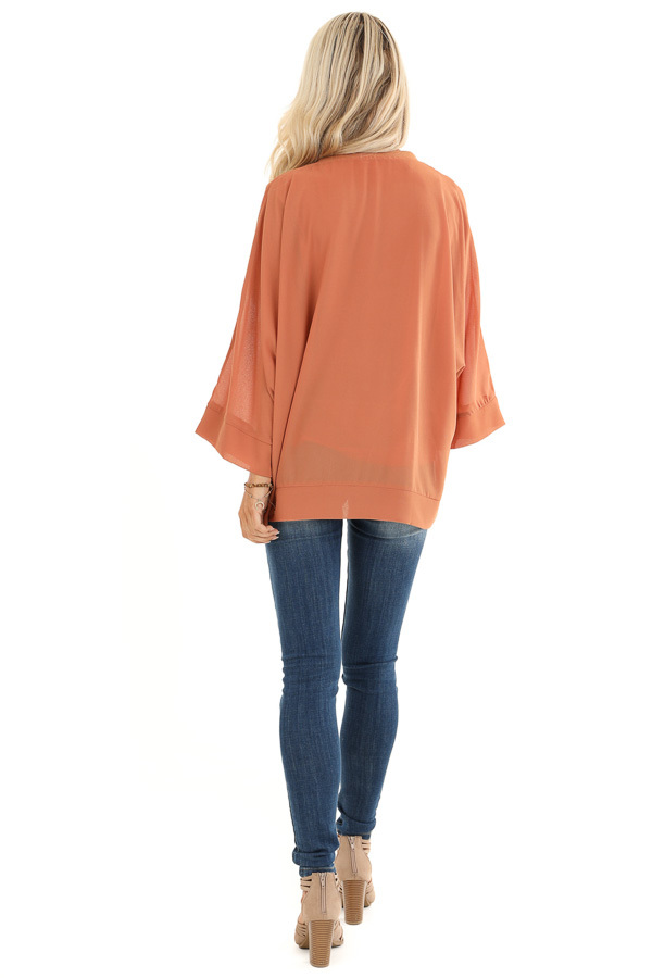 Pumpkin Spice Long Dolman Sleeve Top with V Neckline back full body