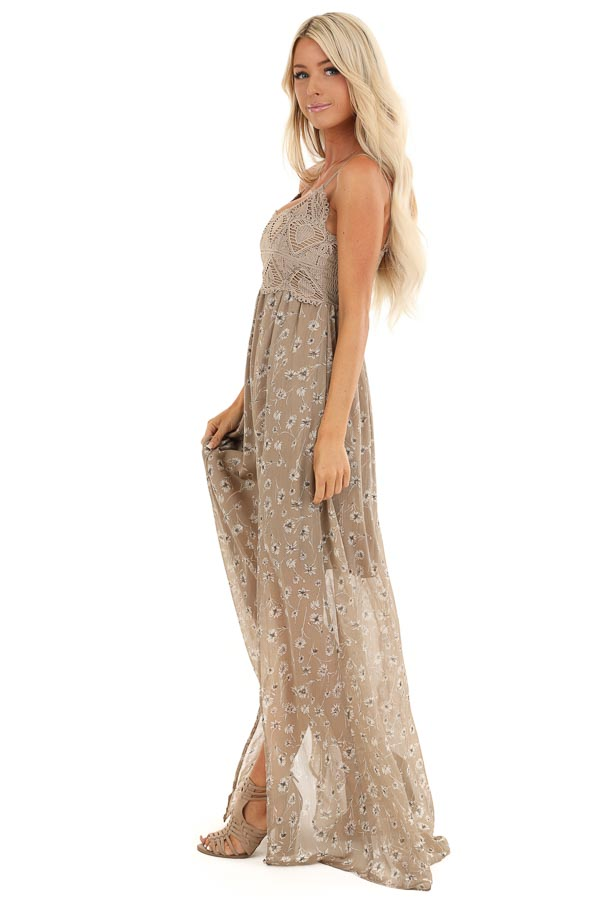 Taupe Floral Spaghetti Strap Maxi Dress with Crocheted Bust side full body
