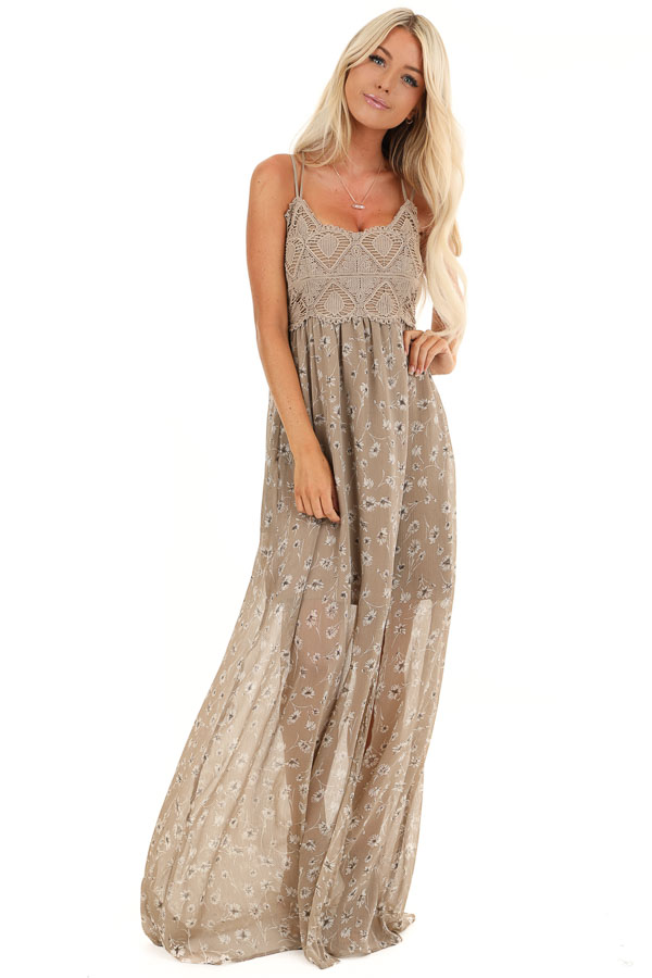 Taupe Floral Spaghetti Strap Maxi Dress with Crocheted Bust front full body