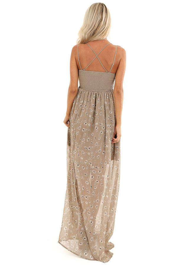 Taupe Floral Spaghetti Strap Maxi Dress with Crocheted Bust back full body