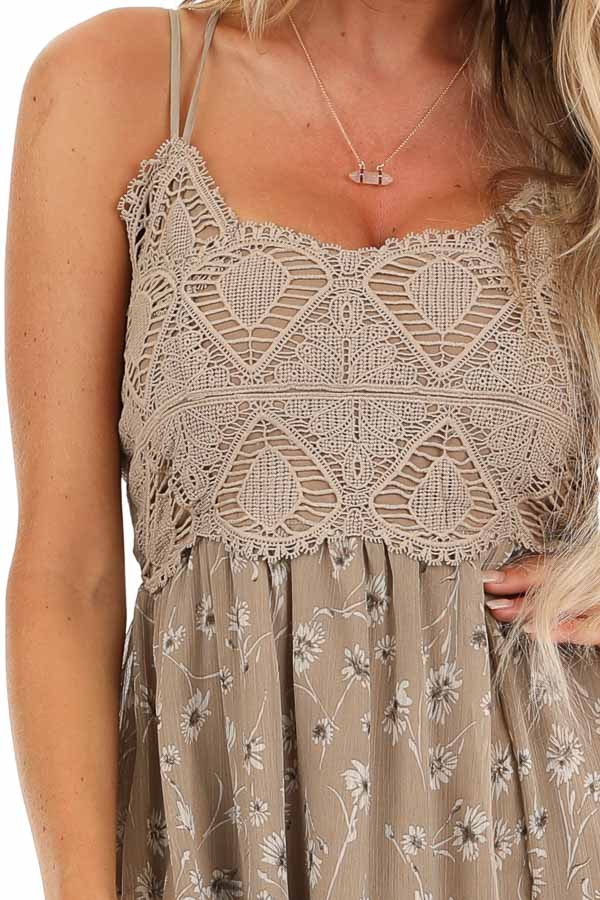 Taupe Floral Spaghetti Strap Maxi Dress with Crocheted Bust detail