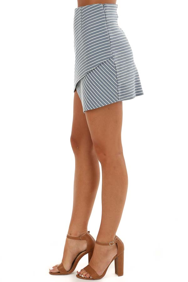 Dusty Blue and Off White Striped Skirt with Criss Cross Hem side view