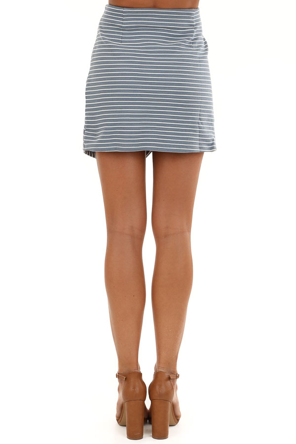 Dusty Blue and Off White Striped Skirt with Criss Cross Hem back view
