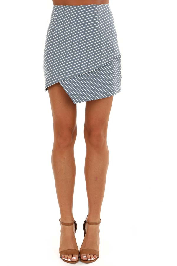 Dusty Blue and Off White Striped Skirt with Criss Cross Hem front view