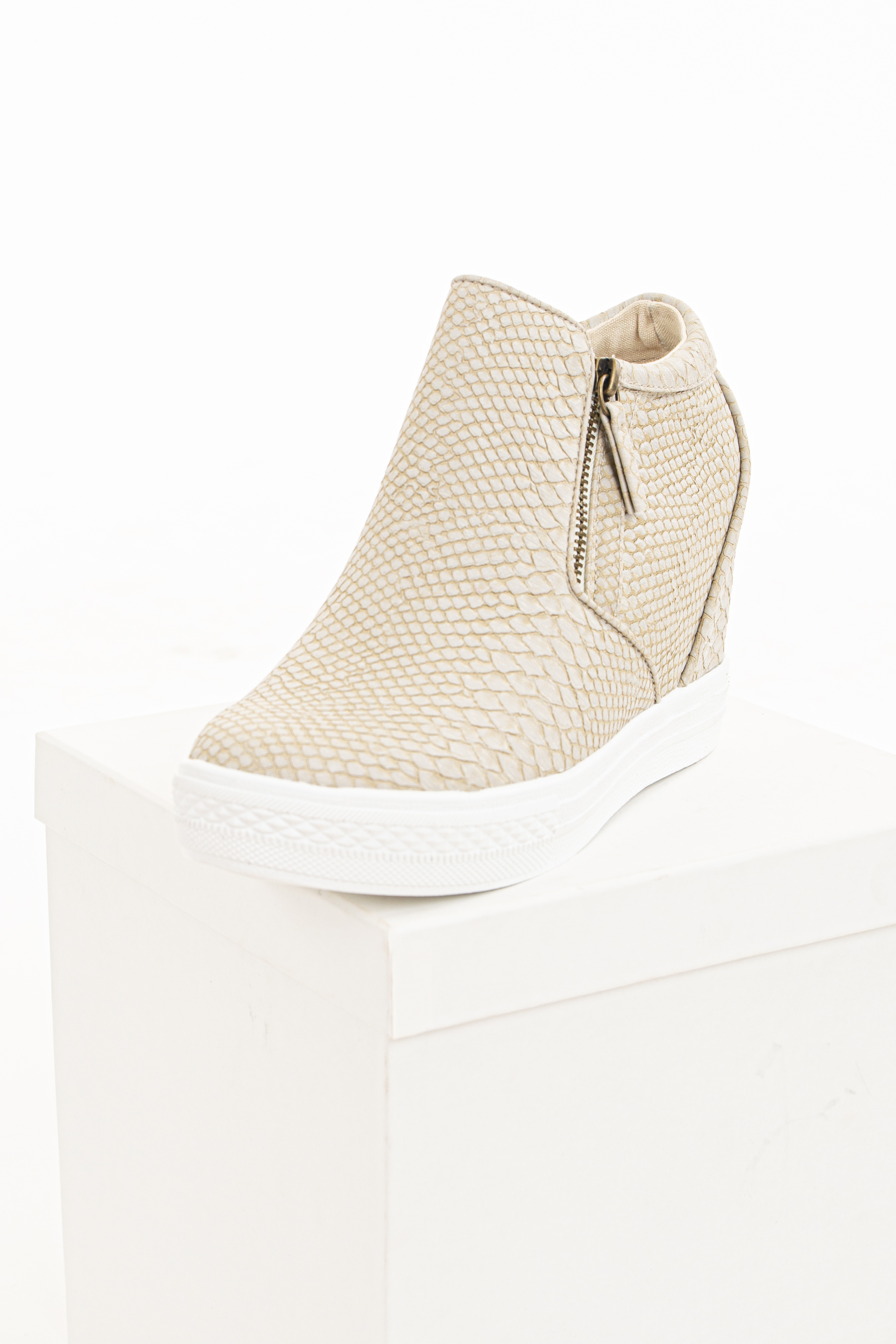 Beige Snakeskin Print Textured Wedge Sneaker with Zippers