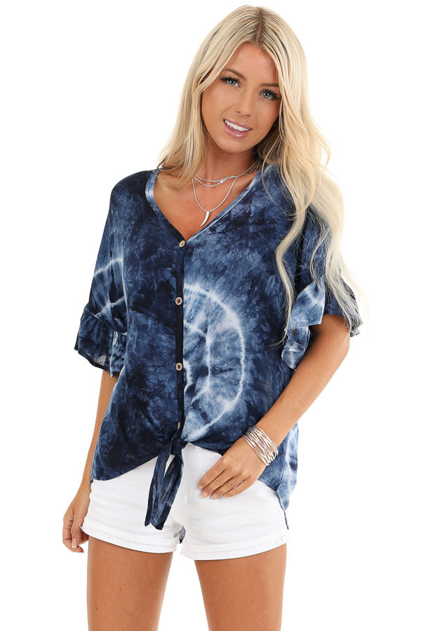 Navy Blue Tie Dye Top with Button Up Detail and Front Tie front close up
