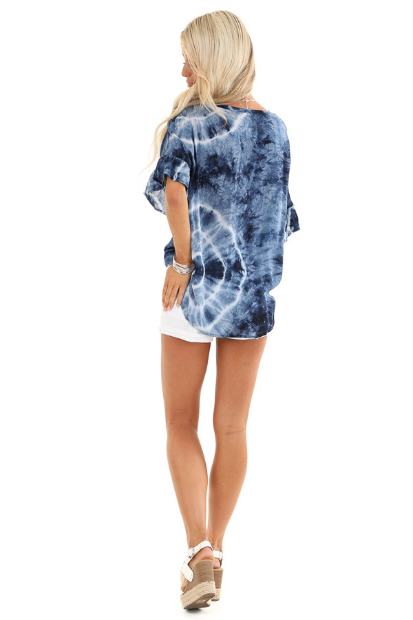 Navy Blue Tie Dye Top with Button Up Detail and Front Tie back full body