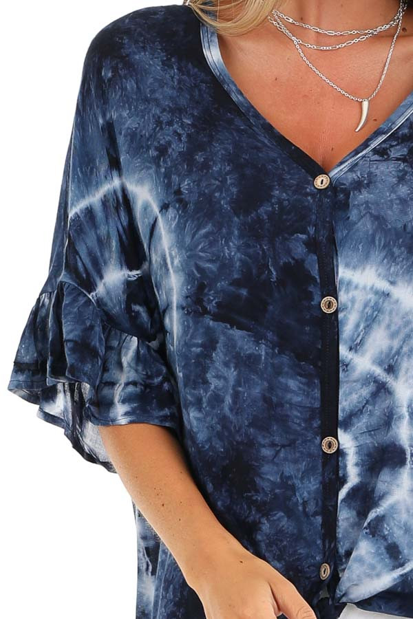 Navy Blue Tie Dye Top with Button Up Detail and Front Tie detail