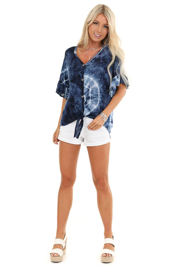 Navy Blue Tie Dye Top with Button Up Detail and Front Tie front full body
