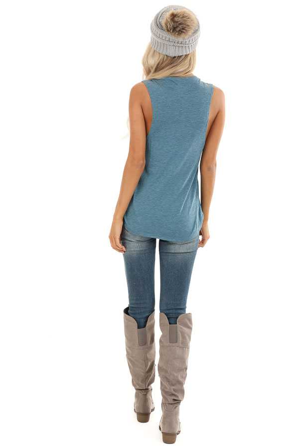 Heathered Teal Sleeveless 'Good Vibes Only' Tank Top back full body