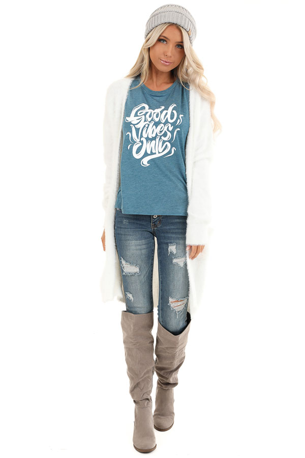 Heathered Teal Sleeveless 'Good Vibes Only' Tank Top front full body
