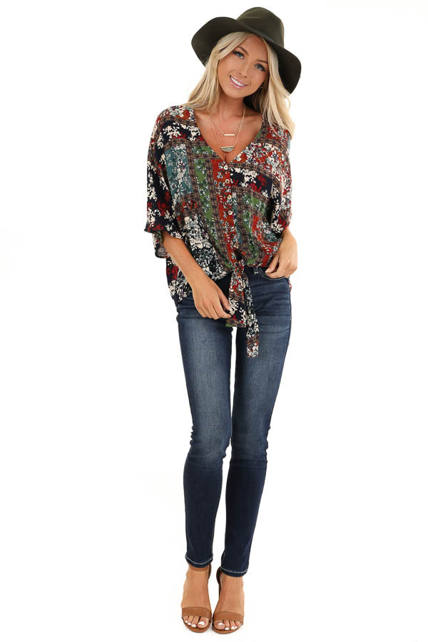 Multi Color Floral Print V Neck Top with Front Tie Detail front full body