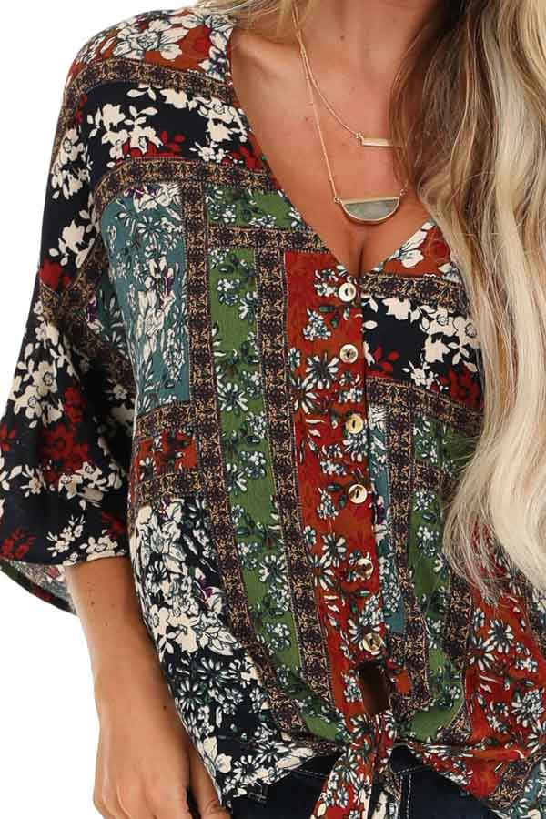 Multi Color Floral Print V Neck Top with Front Tie Detail detail