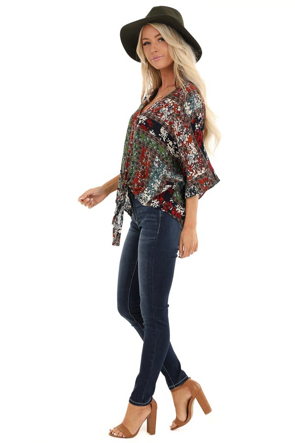 Multi Color Floral Print V Neck Top with Front Tie Detail side full body