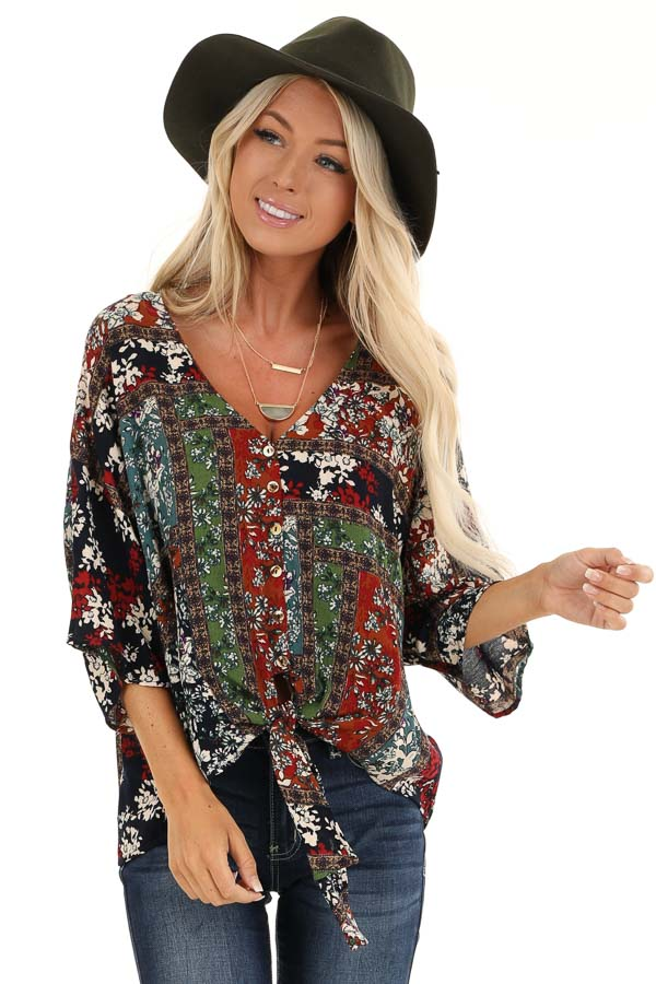 Multi Color Floral Print V Neck Top with Front Tie Detail front close up