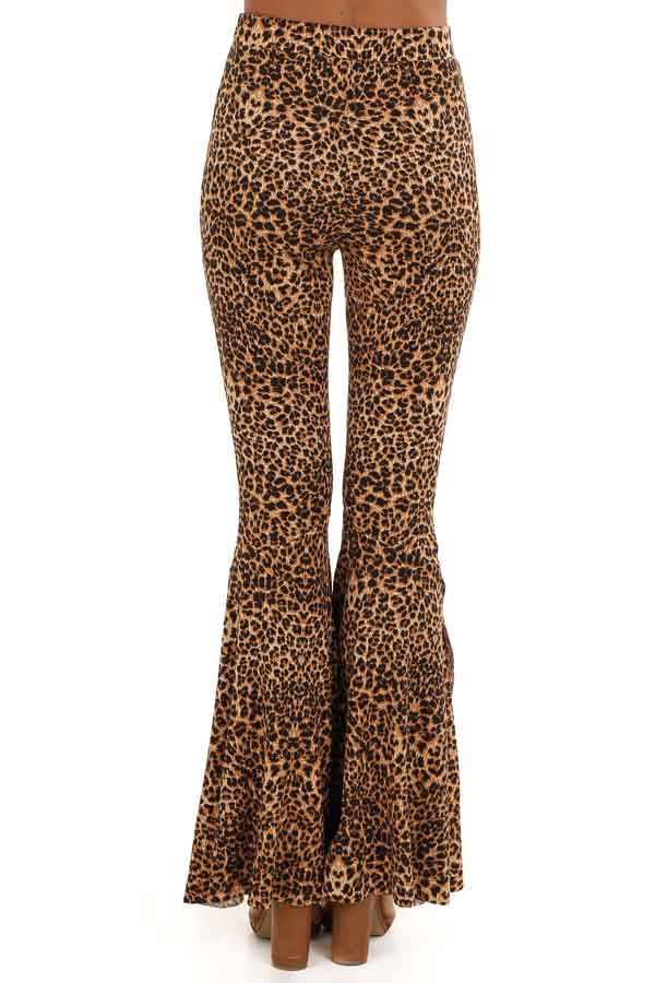 Caramel Leopard Print Stretchy Pants with Bell Bottoms back view
