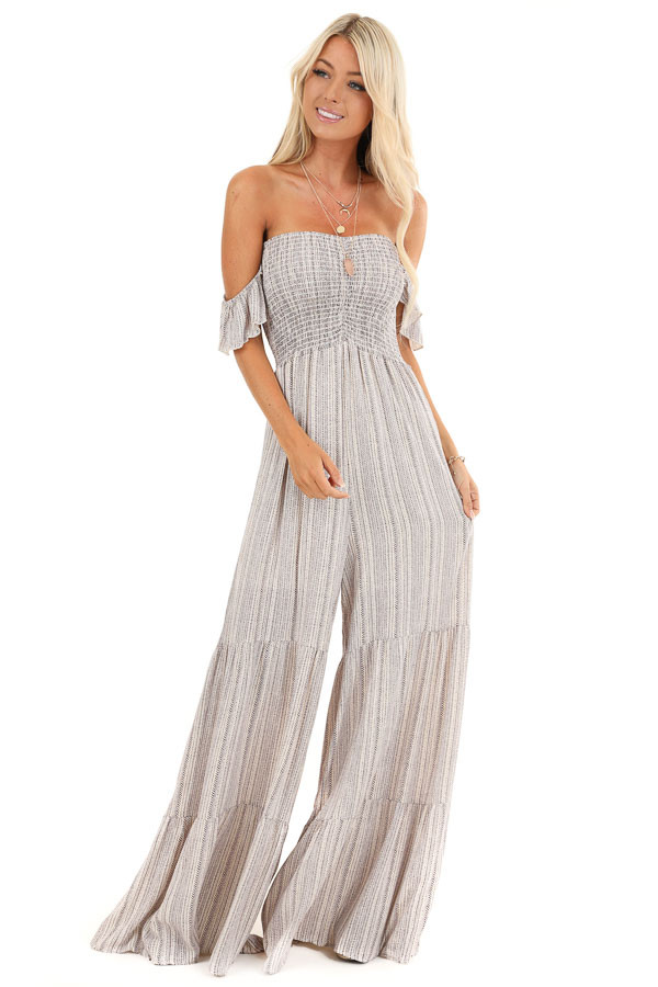 Cream and Eggplant Tribal Print Off the Shoulder Jumpsuit front full body