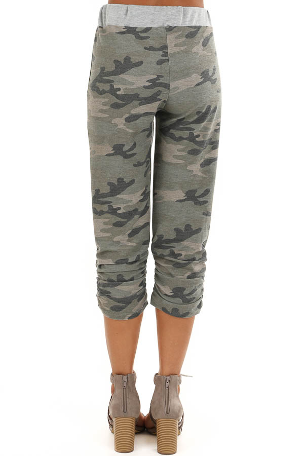 Army Green Camo Print French Terry Knit Capri Joggers back view