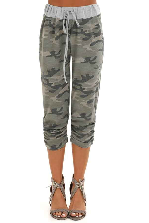 Army Green Camo Print French Terry Knit Capri Joggers front view