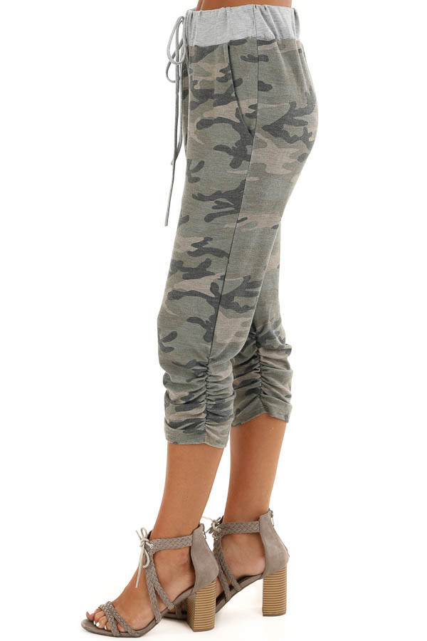 Army Green Camo Print French Terry Knit Capri Joggers side view