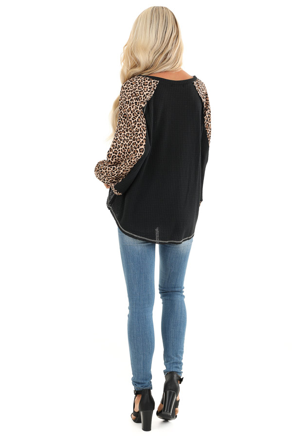 Obsidian and Leopard Print Waffle Knit Long Sleeve Top back full body