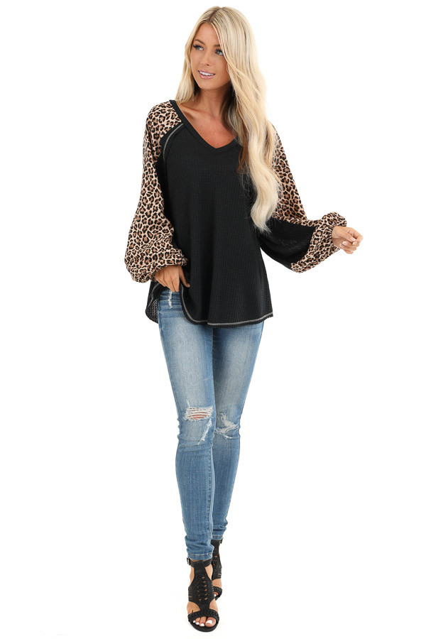 Obsidian and Leopard Print Waffle Knit Long Sleeve Top front full body