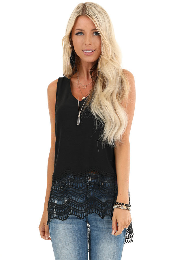 Black V Neck Tank Top with Sheer Crochet Lace Hemline front close up