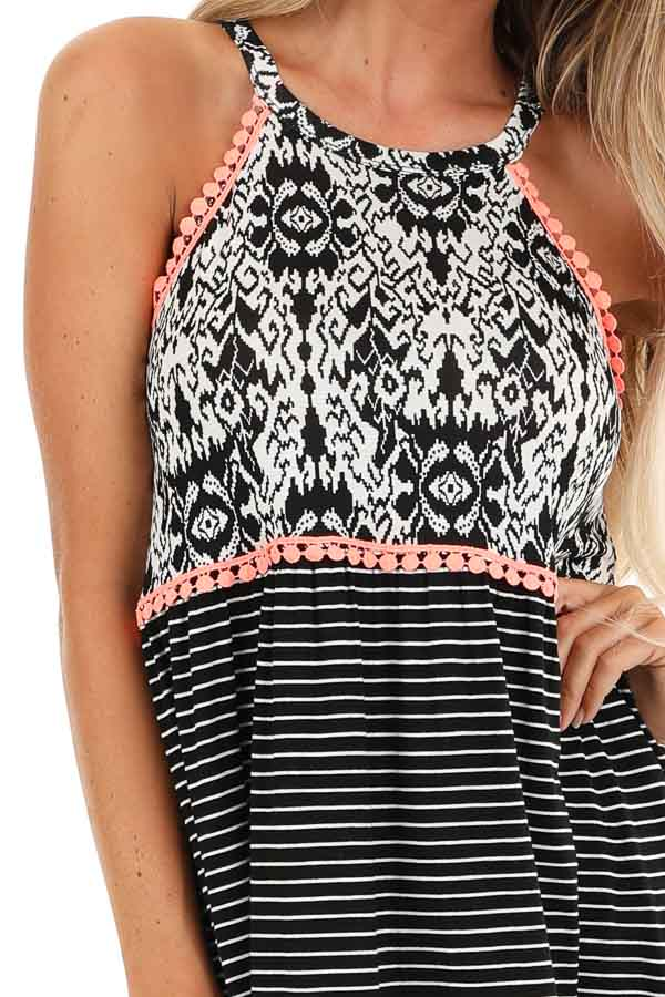Black and Pearl White Patterned Halter Tank with Coral Trim detail