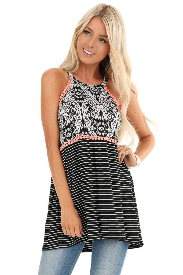 Black and Pearl White Patterned Halter Tank with Coral Trim front close up