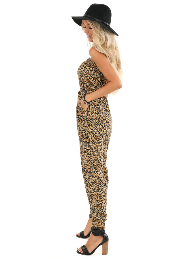 Caramel Leopard Print Strapless Jumpsuit with Tapered Legs side full body
