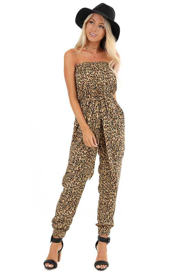 Caramel Leopard Print Strapless Jumpsuit with Tapered Legs front full body