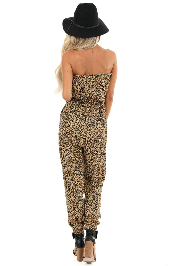 Caramel Leopard Print Strapless Jumpsuit with Tapered Legs back full body