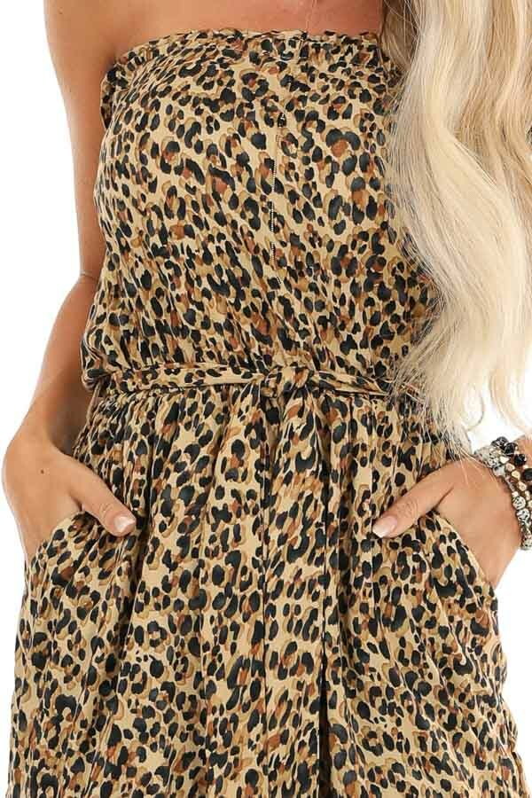 Caramel Leopard Print Strapless Jumpsuit with Tapered Legs detail