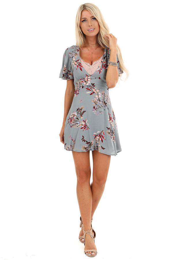 Storm Blue Floral Print Mini Dress with Plunging V Neckline front full body