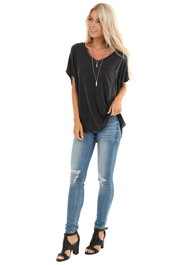 Charcoal Soft Knit V Neck Top with Short Dolman Sleeves front full body