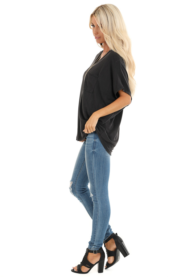 Charcoal Soft Knit V Neck Top with Short Dolman Sleeves side full body