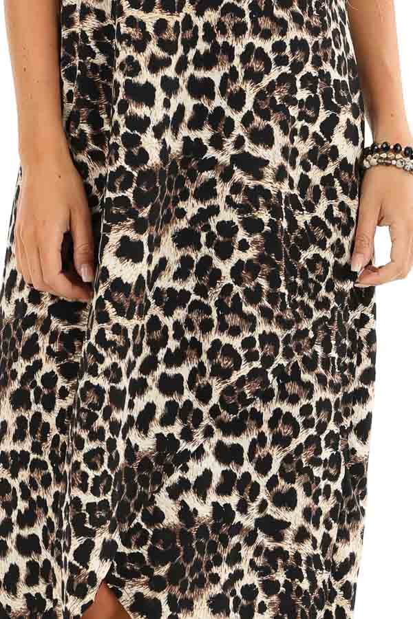 Beige and Ebony Leopard Print High Low Maxi Dress with Slit detail