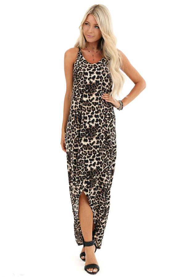 Beige and Ebony Leopard Print High Low Maxi Dress with Slit front full body