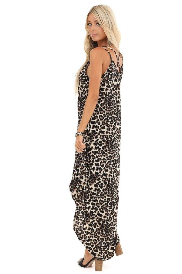Beige and Ebony Leopard Print High Low Maxi Dress with Slit side full body