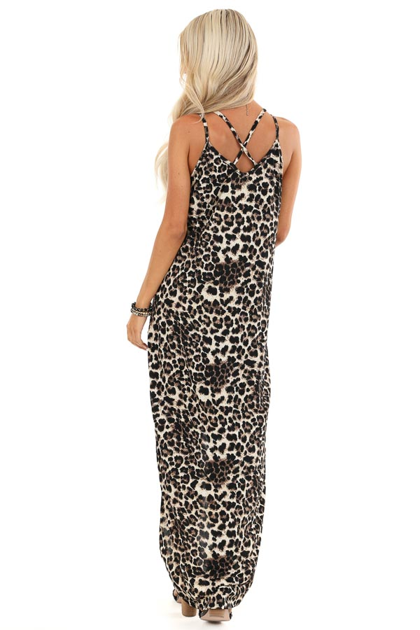 Beige and Ebony Leopard Print High Low Maxi Dress with Slit back full body