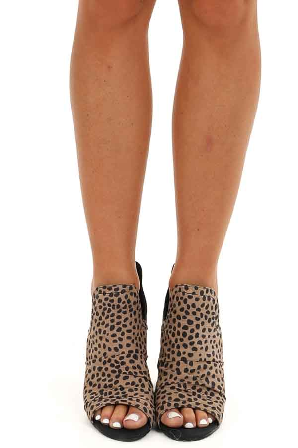 Taupe and Black Animal Print Faux Suede Open Toed Heels front view